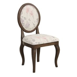 Chaise médaillon en tissu fleurs opaline - Hortense - Visuel n°2