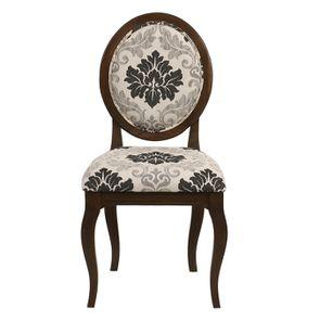 Chaise médaillon en tissu arabesque et frêne massif - Hortense