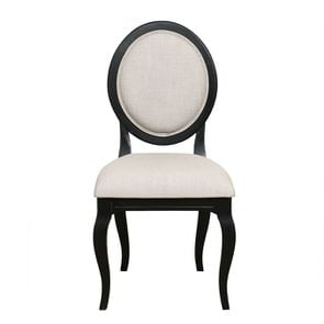 Chaise médaillon en tissu beige - Hortense - Visuel n°1