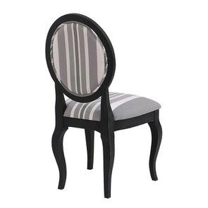 Chaise médaillon en tissu Bayadère gris et piétements noirs - Hortense - Visuel n°3