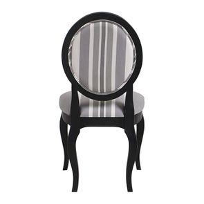 Chaise médaillon en tissu Bayadère gris et piétements noirs - Hortense - Visuel n°4