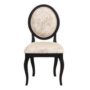 Chaise médaillon en tissu paradisier et bois noir - Hortense