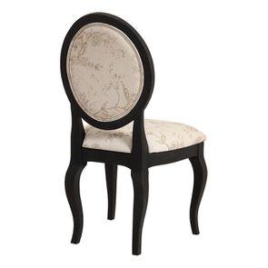 Chaise médaillon en tissu paradisier et bois noir - Hortense - Visuel n°4