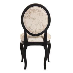 Chaise médaillon en tissu paradisier et bois noir - Hortense - Visuel n°5