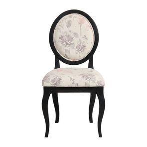 Chaise médaillon en tissu fleurs opaline et hévéa noir - Hortense