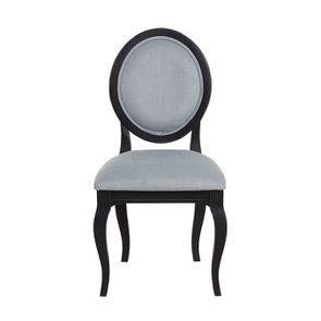 Chaise médaillon en bois noir et tissu vert sauge - Hortense