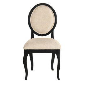 Chaise médaillon en hévéa noir et tissu ficelle - Hortense
