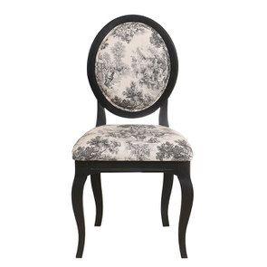 Chaise médaillon en tissu toile de Jouy anthracite et bois noir - Hortense