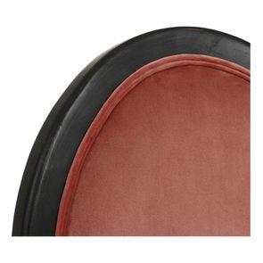 Chaise médaillon en velours rose et hévéa massif noir - Hortense - Visuel n°9