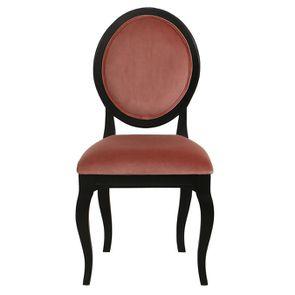 Chaise médaillon en velours rose et hévéa massif noir - Hortense - Visuel n°1