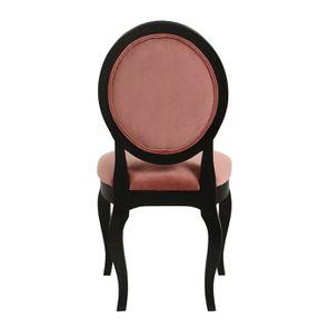 Chaise médaillon en velours rose et hévéa massif noir - Hortense - Visuel n°5