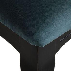 Chaise médaillon en tissu velours vert bleuté et bois noir - Hortense - Visuel n°8