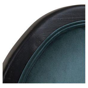 Chaise médaillon en tissu velours vert bleuté et bois noir - Hortense - Visuel n°9