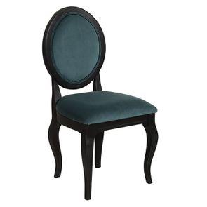 Chaise médaillon en tissu velours vert bleuté et bois noir - Hortense - Visuel n°2