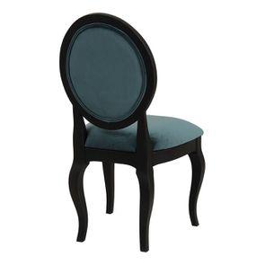 Chaise médaillon en tissu velours vert bleuté et bois noir - Hortense - Visuel n°4