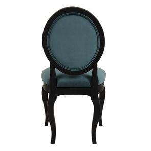 Chaise médaillon en tissu velours vert bleuté et bois noir - Hortense - Visuel n°5