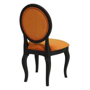 Chaise médaillon en tissu velours jaune safran - Hortense - Visuel n°3