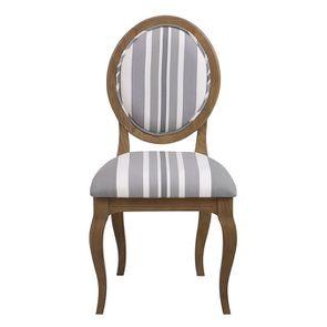 Chaise médaillon en tissu Bayadère gris et frêne massif - Hortense