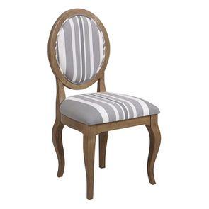 Chaise médaillon en tissu Bayadère gris et frêne massif - Hortense - Visuel n°2