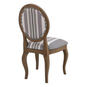 Chaise médaillon en tissu Bayadère gris et frêne massif - Hortense - Visuel n°3