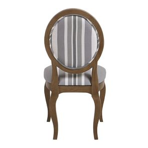 Chaise médaillon en tissu Bayadère gris et frêne massif - Hortense - Visuel n°4