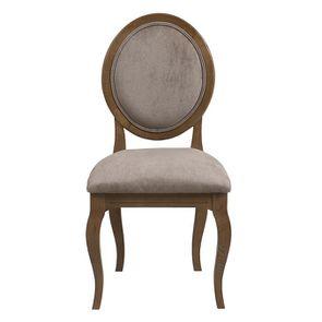 Chaise médaillon en tissu Velours taupe - Hortense