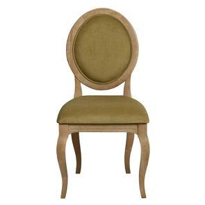 Chaise médaillon en tissu vert vif - Hortense