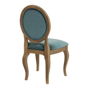 Chaise médaillon en tissu velours vert bleuté - Hortense - Visuel n°6