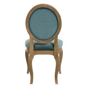 Chaise médaillon en tissu velours vert bleuté - Hortense - Visuel n°7