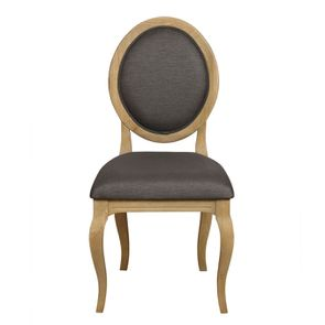 Chaise médaillon en tissu noir - Hortense
