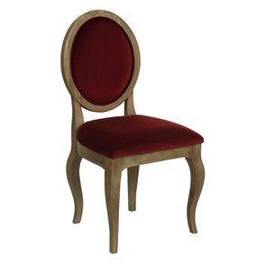 Chaise médaillon en velours lie de vin - Hortense - Visuel n°2