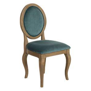 Chaise médaillon en tissu velours vert bleuté - Hortense - Visuel n°2