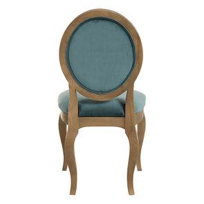 Chaise médaillon en tissu velours vert bleuté - Hortense - Visuel n°4