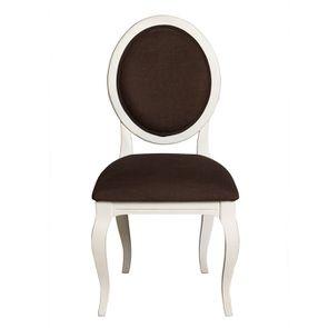 Chaise médaillon en tissu marron glacé et hévéa - Hortense