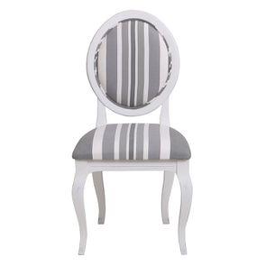 Chaise médaillon en tissu bayadère gris - Hortense
