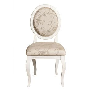 Chaise médaillon en tissu paradisier et bois blanc - Hortense