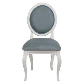 Chaise médaillon en tissu vert sauge et bois blanc - Hortense