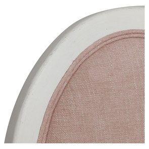 Chaise médaillon en tissu vieux rose et hévéa blanc - Hortense - Visuel n°8