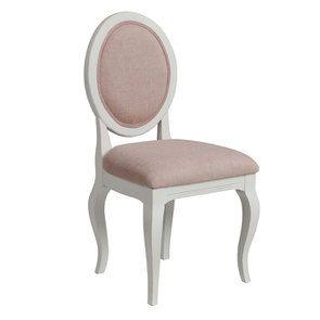 Chaise médaillon en tissu vieux rose et hévéa blanc - Hortense - Visuel n°2