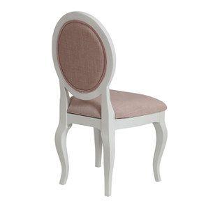 Chaise médaillon en tissu vieux rose et hévéa blanc - Hortense - Visuel n°4