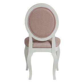Chaise médaillon en tissu vieux rose et hévéa blanc - Hortense - Visuel n°5