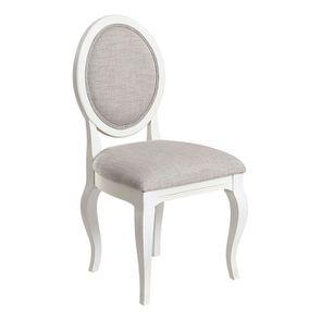 Chaise médaillon en tissu losange gris - Hortense - Visuel n°2
