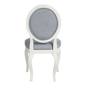 Chaise médaillon en tissu bleu chambray - Hortense - Visuel n°4