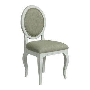 Chaise médaillon en tissu vert amande et hévéa blanc - Hortense - Visuel n°2