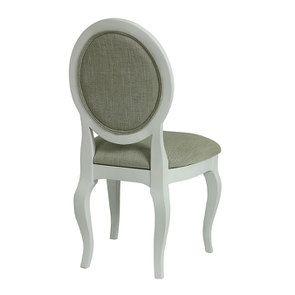 Chaise médaillon en tissu vert amande et hévéa blanc - Hortense - Visuel n°4