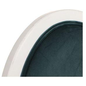 Chaise médaillon en velours vert bleuté et hévéa massif blanc - Hortense - Visuel n°8