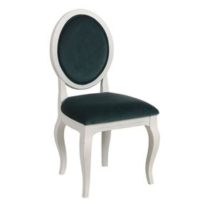 Chaise médaillon en velours vert bleuté et hévéa massif blanc - Hortense - Visuel n°2