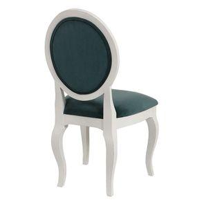 Chaise médaillon en velours vert bleuté et hévéa massif blanc - Hortense - Visuel n°4