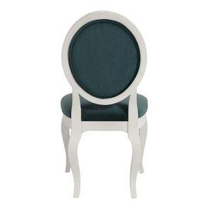 Chaise médaillon en velours vert bleuté et hévéa massif blanc - Hortense - Visuel n°5