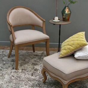 Fauteuil bridge en tissu beige - Ernest